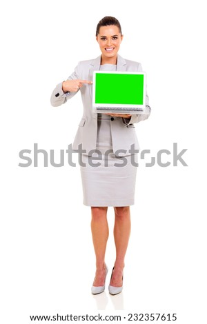 beautiful young business woman pointing laptop green screen - stock photo