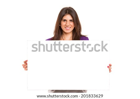 Beautiful young business woman presenting your product on a white card