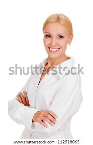Beautiful young businesswoman against white background. - stock photo