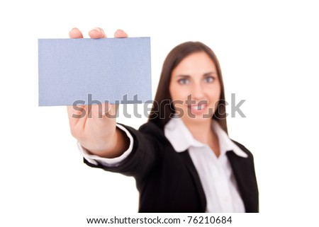 beautiful young businesswoman holding blank paper, ready to add text - stock photo