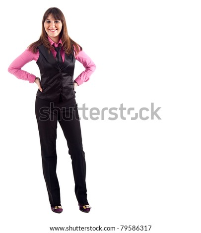 Beautiful young businesswoman isolated on white, full length portrait - stock photo