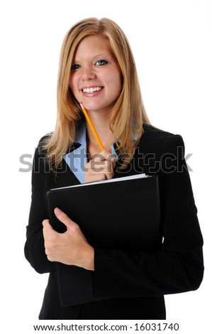 Beautiful young businesswoman smiling with folder and pencil