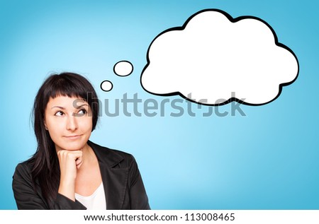 Beautiful young businesswoman think about. Blue background. - stock photo