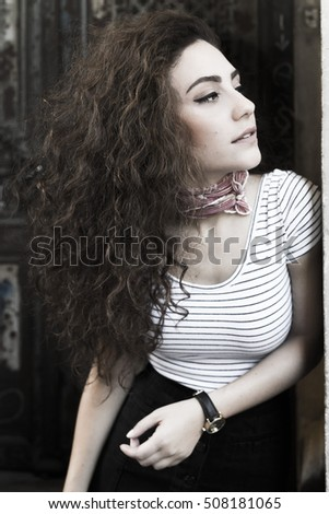Beautiful young casual woman outdoor portrait