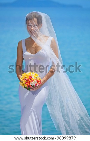 beautiful young caucasian bride on the beach - stock photo