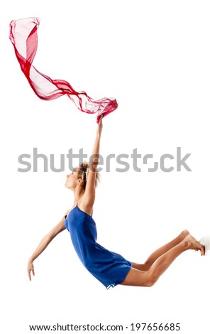 beautiful young caucasian dancing woman  isolated on white background