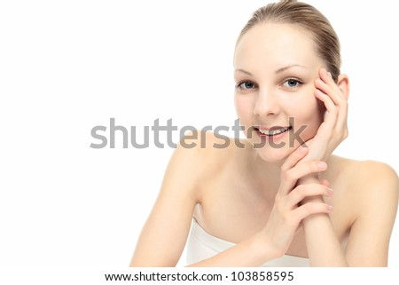 Beautiful young Caucasian woman with empty space