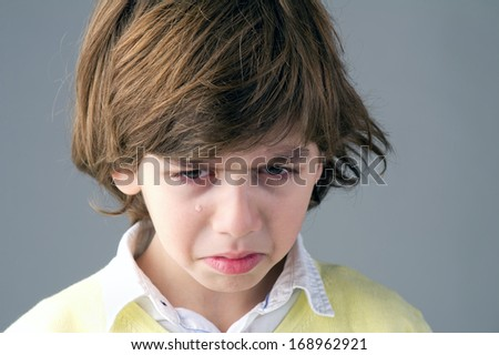 beautiful young child feeling discontent - stock photo