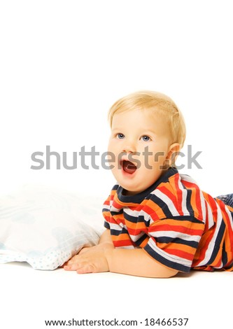 Beautiful young child ready to sleep. Isolated on white background