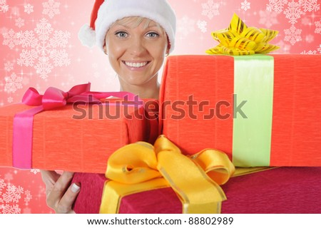 Beautiful young christmas woman. on red background