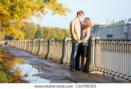 Beautiful young couple having a date. Saint-Petersburg, Russia - stock photo