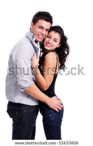 beautiful young couple isolated on white background - stock photo