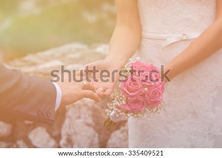 Beautiful Young Couple Wedding teme - stock photo