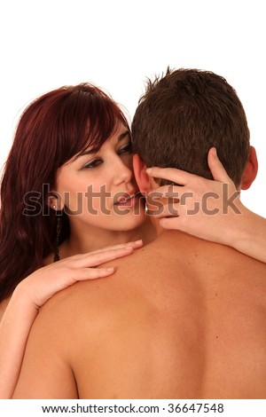 Beautiful young couple with man's bare back to the camera