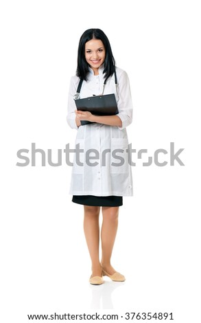 Beautiful young doctor with file folder and stethoscope isolated on white background - stock photo