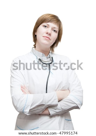Beautiful young doctor with stethoscope over white - stock photo