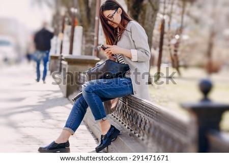 beautiful young fashion girl - stock photo