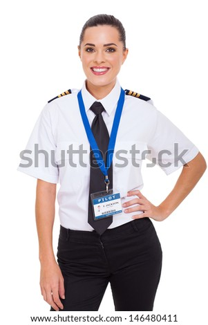 beautiful young female airline co-pilot isolated on white - stock photo