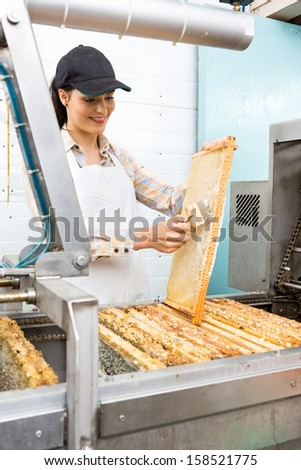 Beautiful young female beekeeper brushing honeycomb at extraction plant in factory - stock photo