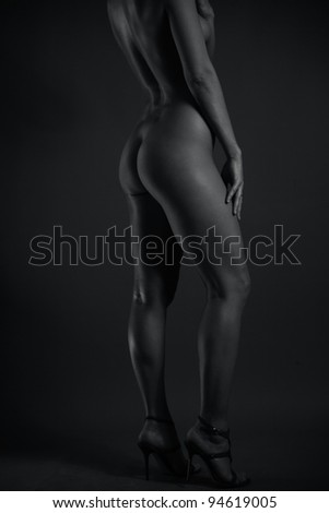 Beautiful young female body lines. Black and white