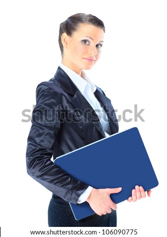 Beautiful young female entrepreneur holding laptop against white background.