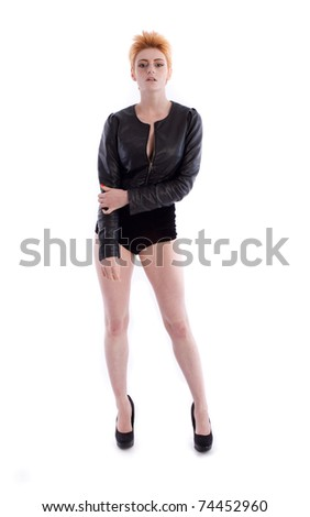 Beautiful young female in jacket and lingerie