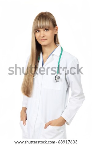 Beautiful young female medical student with sthetoscope