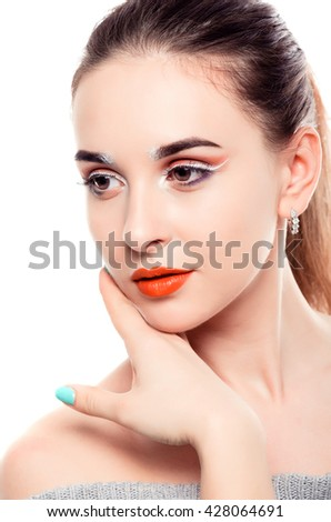 Beautiful Young Female. Portrait isolated on White Background. Healthcare. Perfect Skin. Beauty Face. - stock photo