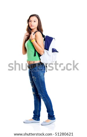 Beautiful young female student isolated on white - stock photo