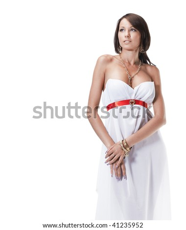 Beautiful young female wearing white dress antique style isolated on white