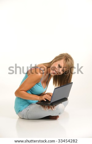 beautiful young female with laptop
