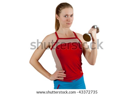 beautiful young fitness girl, lifting dumbbell isolated on white background