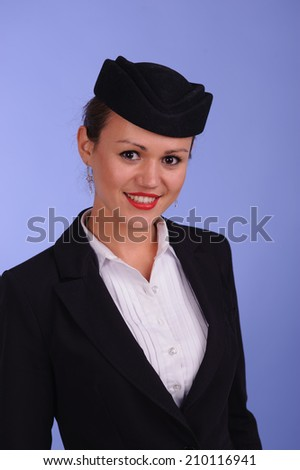 beautiful young flight attendant in black clothing