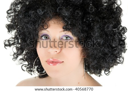 Beautiful young frizzy woman isolated over white background