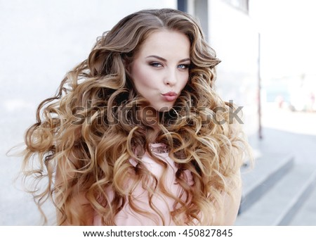 Beautiful Girl Prom Long Curly Hair Stock
