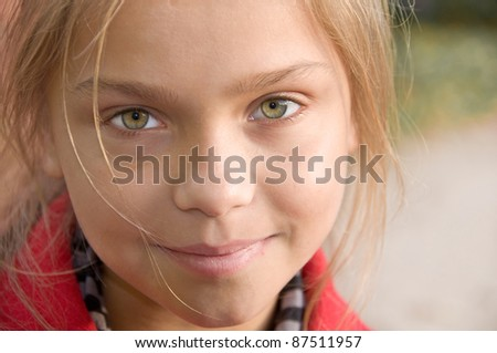 Beautiful young girl close-up portrait