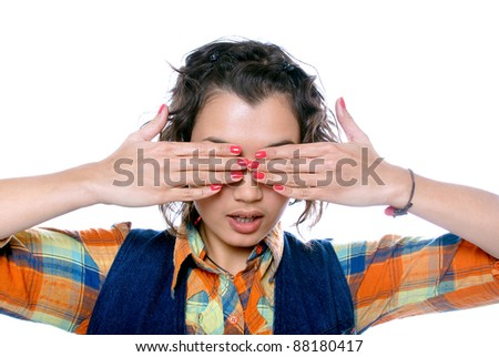 Beautiful young girl closed her eyes - stock photo