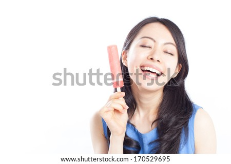 beautiful young girl eating ice pop, isolated on white background - stock photo