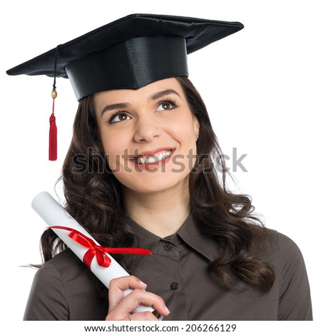 Beautiful Young Girl Holding Diploma Certificate Isolated On White Background - stock photo
