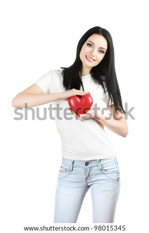 beautiful young girl holding red heart isolated on white - stock photo