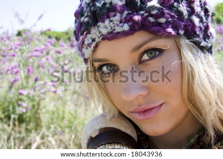 beautiful young girl in a lavender field - stock photo