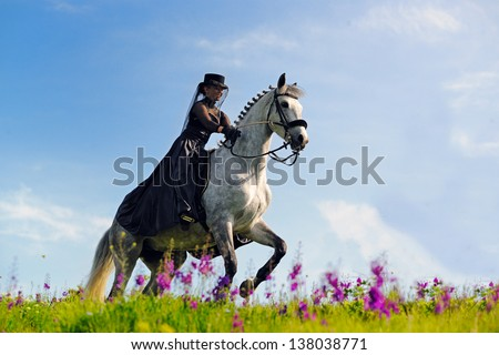 Beautiful young girl in black dress riding a horse - stock photo