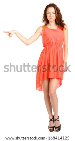 Beautiful young girl in dress isolated on white