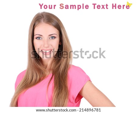 Beautiful young girl in dress isolated on white - stock photo
