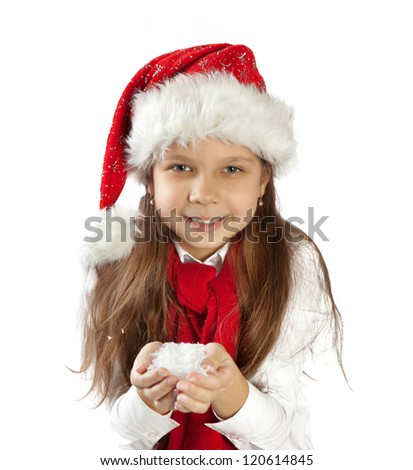 Beautiful young girl in red santa hat and scarf isolated on white. - stock photo