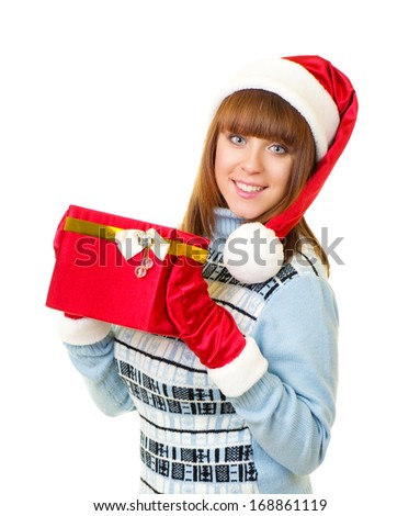 Beautiful young girl in Santa Claus clothes with gifts on white background. - stock photo