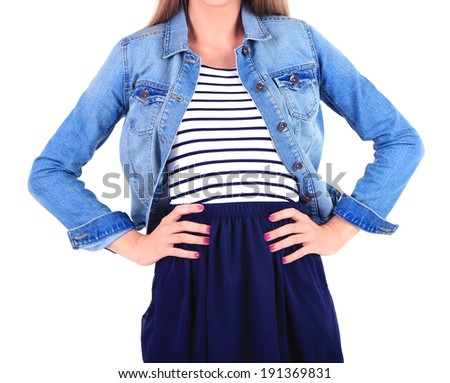Beautiful young girl in skirt, jacket and t-shirt isolated on white - stock photo