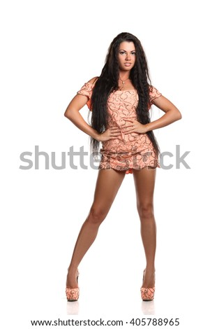 beautiful young girl in the studio - stock photo