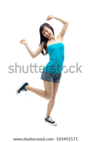 beautiful young girl jumping, isolated on white background