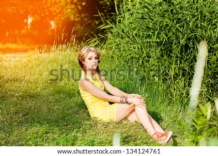 beautiful young girl on nature